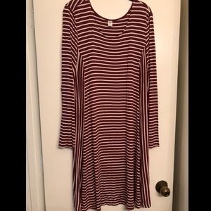 Old Navy Burgundy Striped Long Sleeve Dress 2x